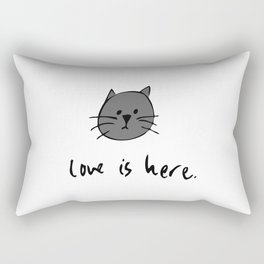 Love is Here (Grey Cat 2) Rectangular Pillow
