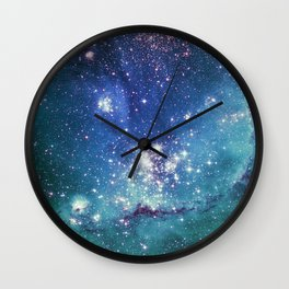 Turquoise Star Galaxy Wall Clock