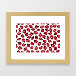 Watercolor Lady Bugs - Red Black Watercolor Insects Framed Art Print