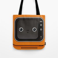 tv Tote Bags featuring tv by The Geek Store