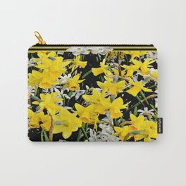 Black-Grey Art Design Yellow-White Daffodils Carry-All Pouch