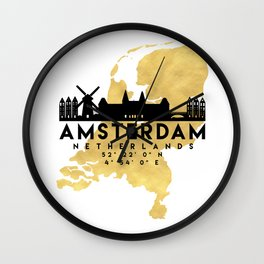 AMSTERDAM NETHERLANDS SILHOUETTE SKYLINE MAP ART Wall Clock