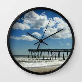 Silhouetted pier Wall Clock