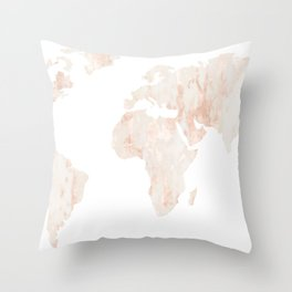 Marble World Map Light Pink Rose Gold Shimmer Throw Pillow