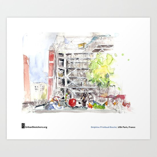 """Delphine_Priollaud-Stoclet, """"Beaubourg Fontaine"""" Art Print"""