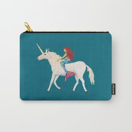 Red Haired Mermaid Rides the Unicorn Carry-All Pouch