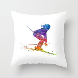Girl Skiing 2 Colorful Watercolor Winter Sports Art Throw Pillow