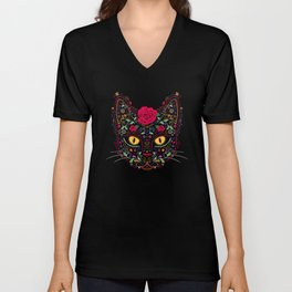 Day of the Dead Kitty Cat Sugar Skull Unisex V-Neck