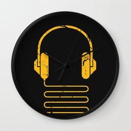 Gold Headphones Wall Clock