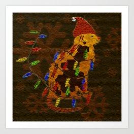 Christmas Lights on Cat for Cat lovers Art Print
