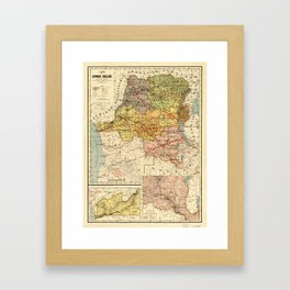 Map of the Congo, Africa (1896) Framed Art Print