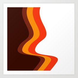 Abstract Brown Orange and Yellow Seventies Design Art Print