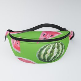Watermelon Pattern with Green Background Fanny Pack