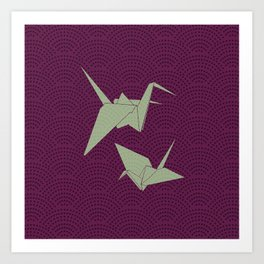 Origami paper cranes on purple waves Art Print