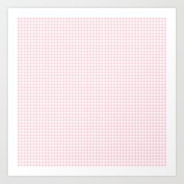 Soft Pastel Pink and White Hounds Tooth Check Art Print