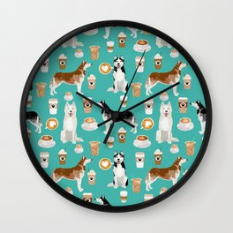 Husky siberian huskies coffee cute dog art drinks latte dogs pet portrait pattern Wall Clock
