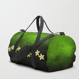 Gold flowers and bold green and black grunge texture Duffle Bag