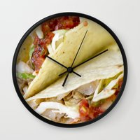 taco Wall Clocks featuring Taco  by Spotted Heart