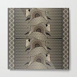 Buffalo Running (Gray) Metal Print