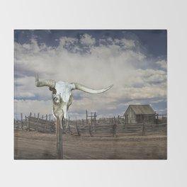 Steer Skull and Western Fenced Corral Throw Blanket