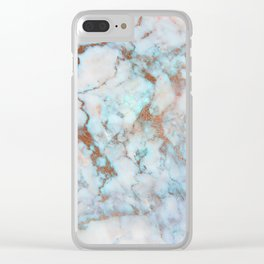 Rose Marble with Rose Gold Veins and Blue-Green Tones Clear iPhone Case