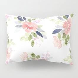 Peach & Nvy Watercolor Flowers Pillow Sham