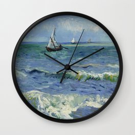 Seascape near Les Saintes-Maries-de-la-Mer Wall Clock