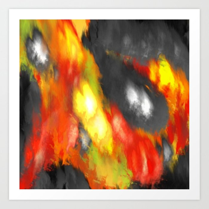 Black Red Yellow White Bold Bokeh Cool Pop Art Abstract Art Print By Corbinhenry