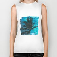 swimming Biker Tanks featuring Swimming Palm by Catspaws