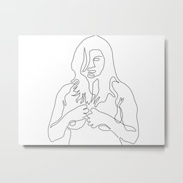 Female Pose From Front - One Line Art Metal Print