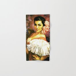 Jesus Helguera Painting of a Mexican Calendar Girl with Fan Hand & Bath Towel