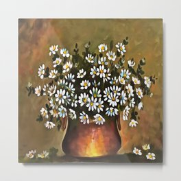 Daisies In A Copper Colored Vase Metal Print