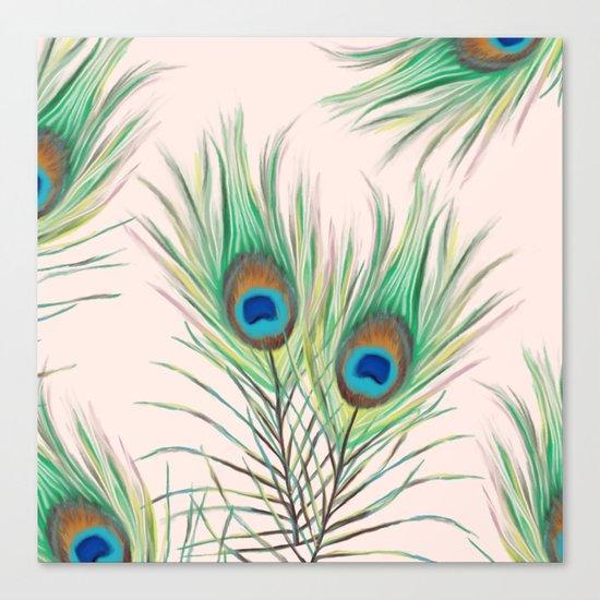Unique Peacock Feathers Pattern Canvas Print