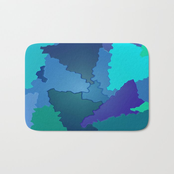 Blues and Greens Puzzle Patchwork Bath Mat
