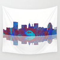 baltimore Wall Tapestries featuring Baltimore Skyline by Marlene Watson