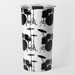 Drumset Pattern (Black on White) Travel Mug