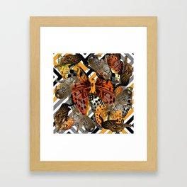 OCELOT CATS & BUTTERFLIES NATURE ART Framed Art Print