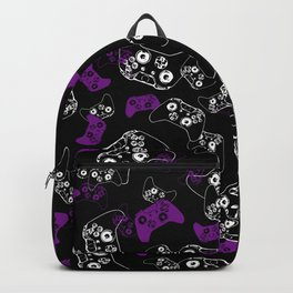 Video Game Purple on Black Backpack