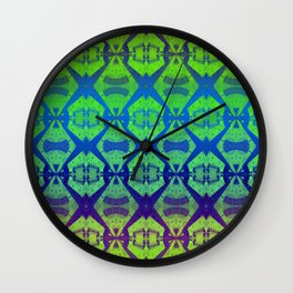 African Vintage Fabric Green Tone Gradient Wall Clock