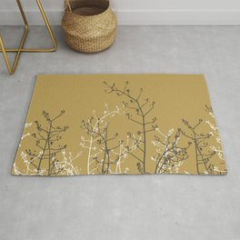 Modern Abstract Botanical Silhouettes on Light Brown Gold Rug