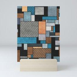 Random Concrete Pattern - Blue, Grey, Brown Mini Art Print