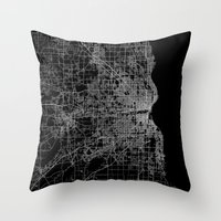 milwaukee Throw Pillows featuring milwaukee map by Line Line Lines