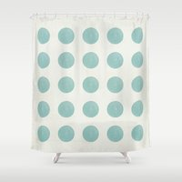 polka dots Shower Curtains featuring Polka Dots by Juste Pixx Designs