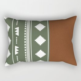 Southwestern Green with faux leather texture Rectangular Pillow