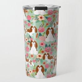 Blenheim Cavalier King Charles Spaniel dog breed florals pattern Travel Mug