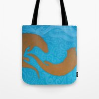 otters Tote Bags featuring Two Otters by LegendOfZeldy
