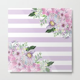 Spring Flowers on the Fence Metal Print