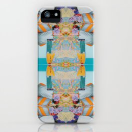 he wore mesh and she, puffy sleeves - a modern collage in blue and orange iPhone Case