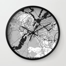 Potsdam Map Gray Wall Clock