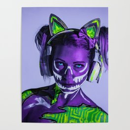 Cyber Cat Girl Contacts Fantasy Neon Blacklight Poster